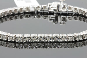 .30 CARAT MENS WHITE GOLD FINISH FANOOK REAL DIAMOND 1 ROW LINK TENNIS BRACELET