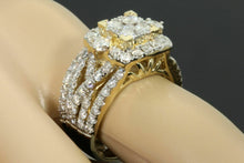 Load image into Gallery viewer, 10K YELLOW GOLD 3.28 CT WOMEN REAL DIAMOND ENGAGEMENT RING WEDDING BAND RING SET