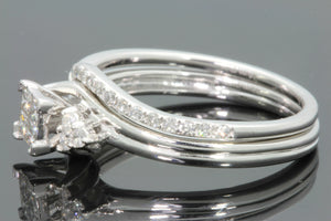 10K WHITE GOLD .44 CARAT WOMEN DIAMOND ENGAGEMENT RING WEDDING BAND BRIDAL SET