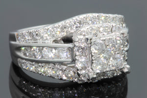 10K WHITE GOLD 2.75 CARAT WOMEN REAL DIAMOND ENGAGEMENT RING WEDDING RING BRIDAL
