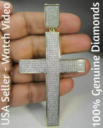 3.13 CT LARGE 4 INCH REAL DIAMONDS YELLOW GOLD FINISH SILVER CROSS CHARM PENDANT