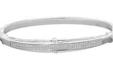 Load image into Gallery viewer, .51 CARAT WOMENS WHITE GOLD FINISH 100% REAL GENUINE DIAMOND BRACELET BANGLE