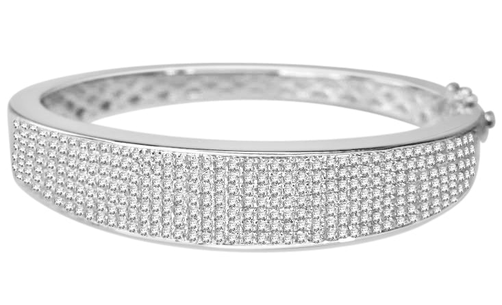 2.30 CARAT GENUINE DIAMONDS WOMENS LADIES WHITE GOLD FINISH PAVE BRACELET BANGLE