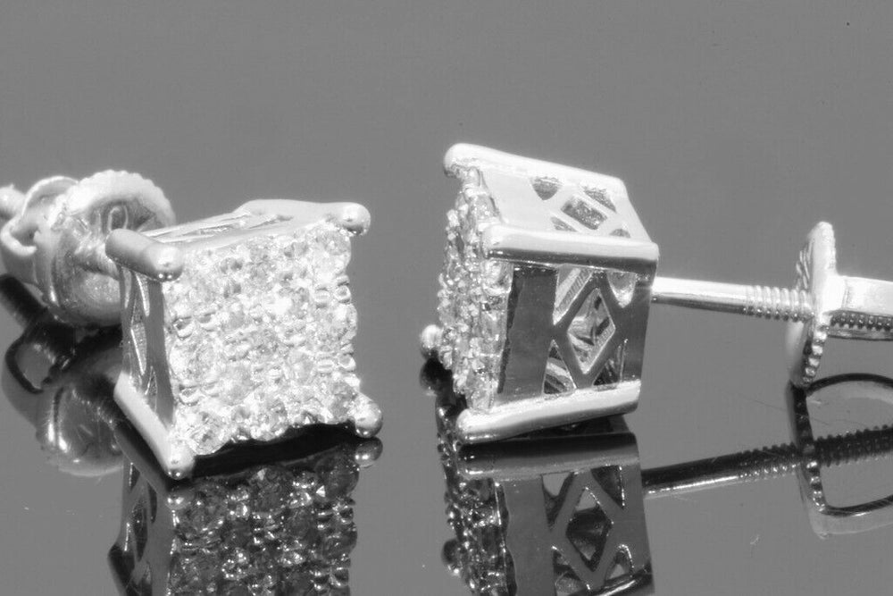 10K WHITE GOLD .33 CARAT MENS/WOMENS 5mm 100% GENUINE DIAMONDS EARRING STUDS