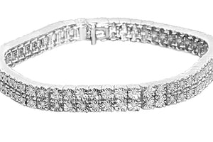 .70 CARAT MENS WHITE GOLD FINISH FANOOK REAL DIAMOND 2 ROW LINK TENNIS BRACELET