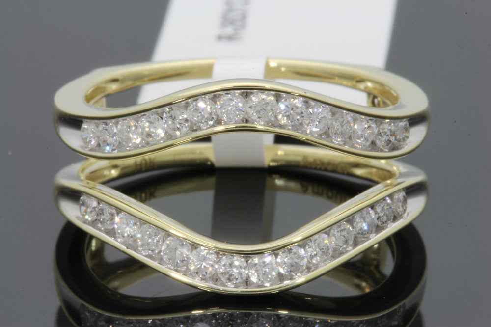 10K YELLOW GOLD SOLITAIRE ENHANCER .48 CT DIAMOND RING GUARD WRAP WEDDING BAND