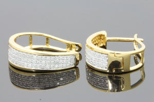.45 CARAT REAL DIAMONDS STERLING SILVER YELLOW GOLD PLATING HOOPS EARRINGS HUGGIE STUDS
