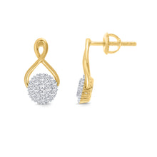 Load image into Gallery viewer, 10K YELLOW GOLD .32 CARAT REAL DIAMOND WOMENS LADIES HOOPS EARRINGS HUGGIE STUDS