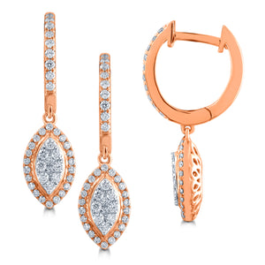 10K ROSE GOLD .51 CARAT REAL DIAMOND WOMENS LADIES HOOPS EARRINGS HUGGIE STUDS