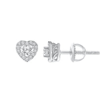 Load image into Gallery viewer, 10K WHITE GOLD .25 CARAT REAL DIAMOND WOMENS HEART HOOPS EARRINGS HUGGIE STUDS