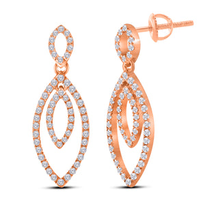 10K ROSE GOLD .52 CARAT REAL DIAMOND WOMENS LADIES HOOPS EARRINGS HUGGIE STUDS