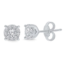 Load image into Gallery viewer, 10K WHITE GOLD .26 CARAT 100% GENUINE DIAMONDS MENS/WOMENS EARRING STUDS