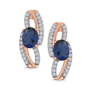 10K ROSE GOLD 1.20 CT DIAMOND SAPPHIRE WOMEN LADIES HOOPS EARRINGS HUGGIE STUDS