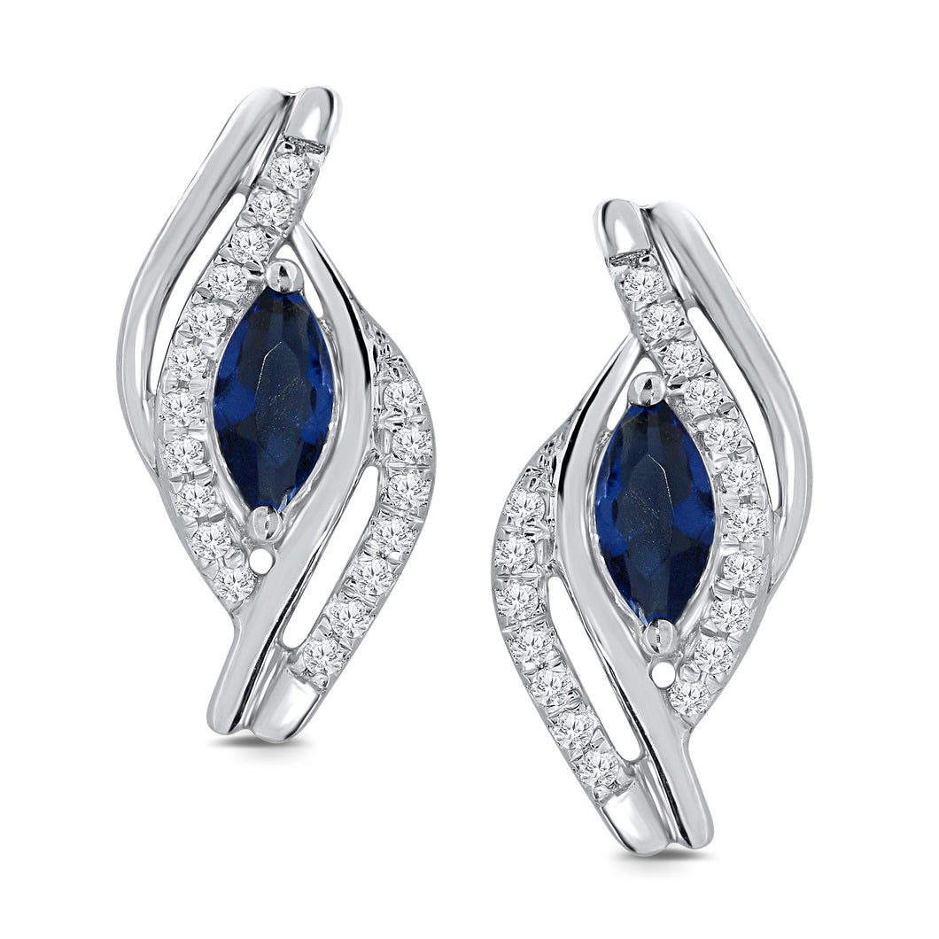 10K WHITE GOLD .44 CT DIAMOND SAPPHIRE WOMEN LADIES HOOPS EARRINGS HUGGIE STUDS