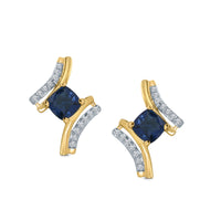 10K YELLOW GOLD .88 CT DIAMOND SAPPHIRE WOMEN LADIES HOOPS EARRINGS HUGGIE STUDS