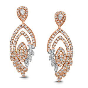 10K ROSE GOLD .84 CARAT REAL DIAMOND WOMENS LADIES HOOPS EARRINGS HUGGIE STUDS
