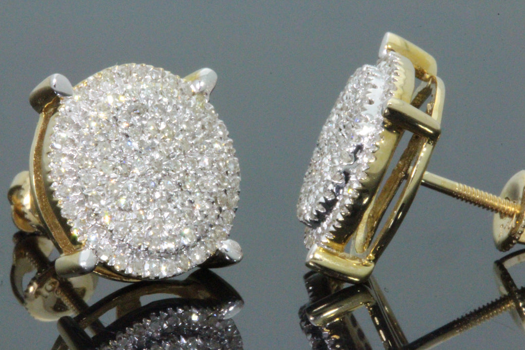 10K YELLOW GOLD .75 CARAT MENS WOMENS 11 mm 100% GENUINE DIAMONDS EARRING STUDS