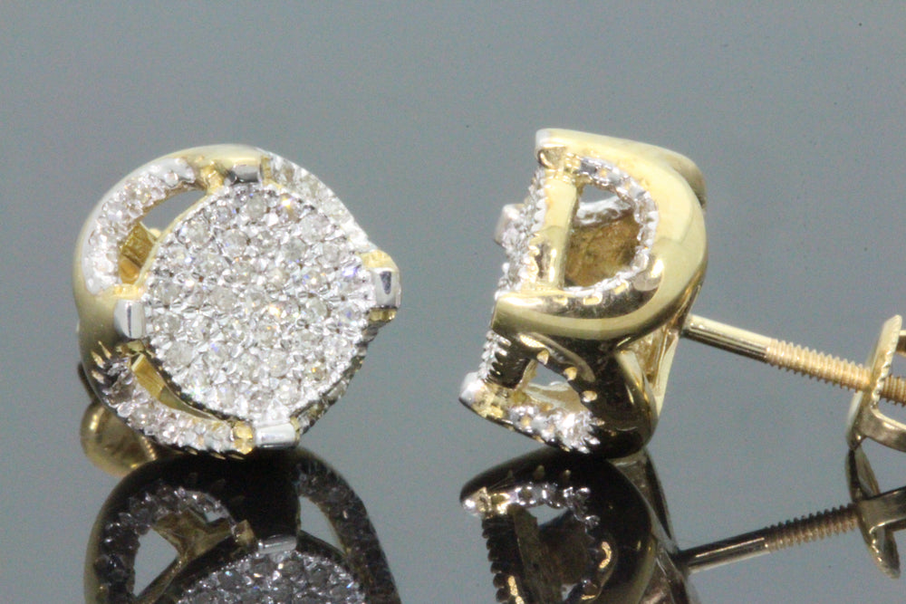 10K YELLOW GOLD .50 CARAT MENS WOMENS 10 mm 100% GENUINE DIAMONDS EARRING STUDS