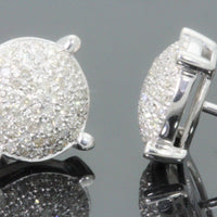 10K WHITE GOLD .40 CARAT MENS WOMENS 9 mm 100% GENUINE DIAMONDS EARRING STUDS