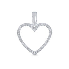 Load image into Gallery viewer, 10K WHITE GOLD .12 CT REAL DIAMOND HEART PENDANT NECKLACE WITH WHITE GOLD CHAIN