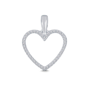 10K WHITE GOLD .12 CT REAL DIAMOND HEART PENDANT NECKLACE WITH WHITE GOLD CHAIN