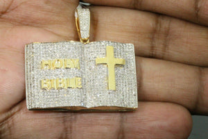 "1.75 CT REAL DIAMOND 1.50"" STERLING SILVER YELLOW GOLD HOLY BIBLE CROSS PENDANT"