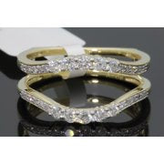 10K YELLOW GOLD SOLITAIRE ENHANCER .47 CT DIAMOND RING GUARD WRAP WEDDING BAND