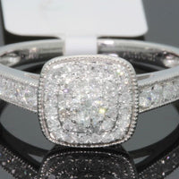 10K WHITE GOLD .50 CARAT WOMENS REAL DIAMOND BRIDAL WEDDING RING ENGAGEMENT RING