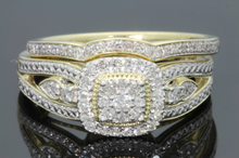 Load image into Gallery viewer, 10K YELLOW GOLD .36 CARAT REAL DIAMOND ENGAGEMENT RING WEDDING BAND BRIDAL SET