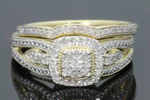 10K YELLOW GOLD .36 CARAT REAL DIAMOND ENGAGEMENT RING WEDDING BAND BRIDAL SET