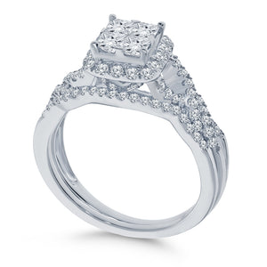 10K WHITE GOLD 1.20 CARAT REAL DIAMOND ENGAGEMENT RING WEDDING BAND BRIDAL SET
