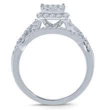 Load image into Gallery viewer, 10K WHITE GOLD 1.20 CARAT REAL DIAMOND ENGAGEMENT RING WEDDING BAND BRIDAL SET