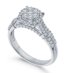 10K WHITE GOLD .75 CARAT WOMEN REAL DIAMOND ENGAGEMENT RING WEDDING RING BRIDAL