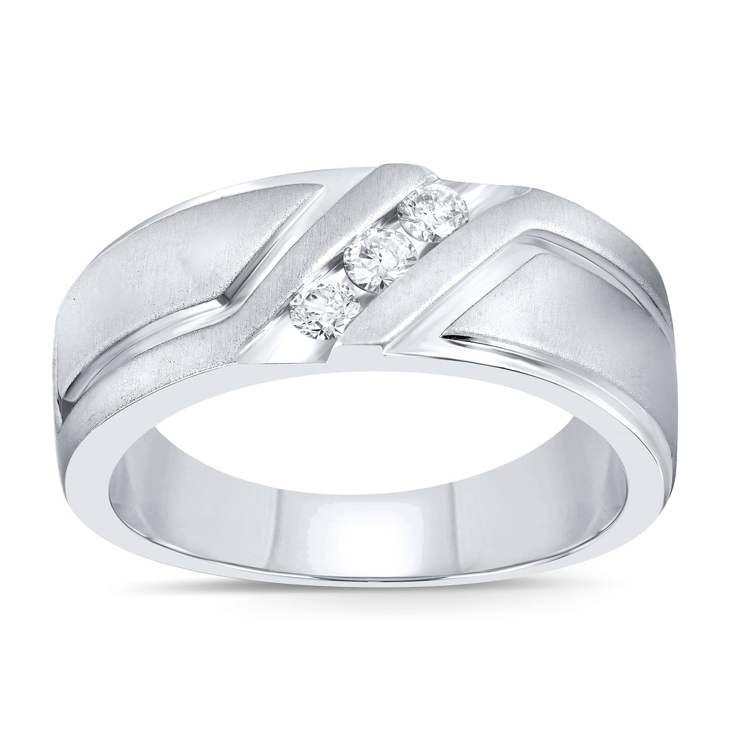 10K WHITE GOLD .26 CARAT MENS REAL DIAMOND ENGAGEMENT WEDDING PINKY RING BAND