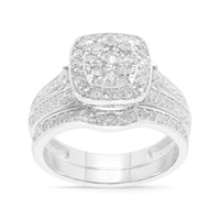 10K WHITE GOLD 1.32 CARAT WOMENS REAL DIAMOND ENGAGEMENT RING WEDDING BAND SET