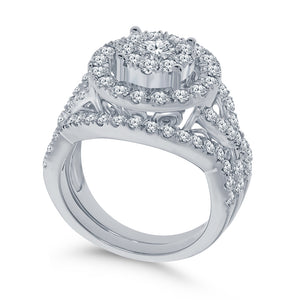 10K WHITE GOLD 2 CARAT REAL DIAMOND ENGAGEMENT RING WEDDING BAND BRIDAL SET
