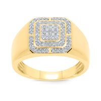 10K YELLOW GOLD .48 CARAT MENS REAL DIAMOND ENGAGEMENT WEDDING PINKY RING BAND