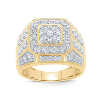 10K YELLOW GOLD 2.25 CARAT MENS REAL DIAMOND ENGAGEMENT WEDDING PINKY RING BAND