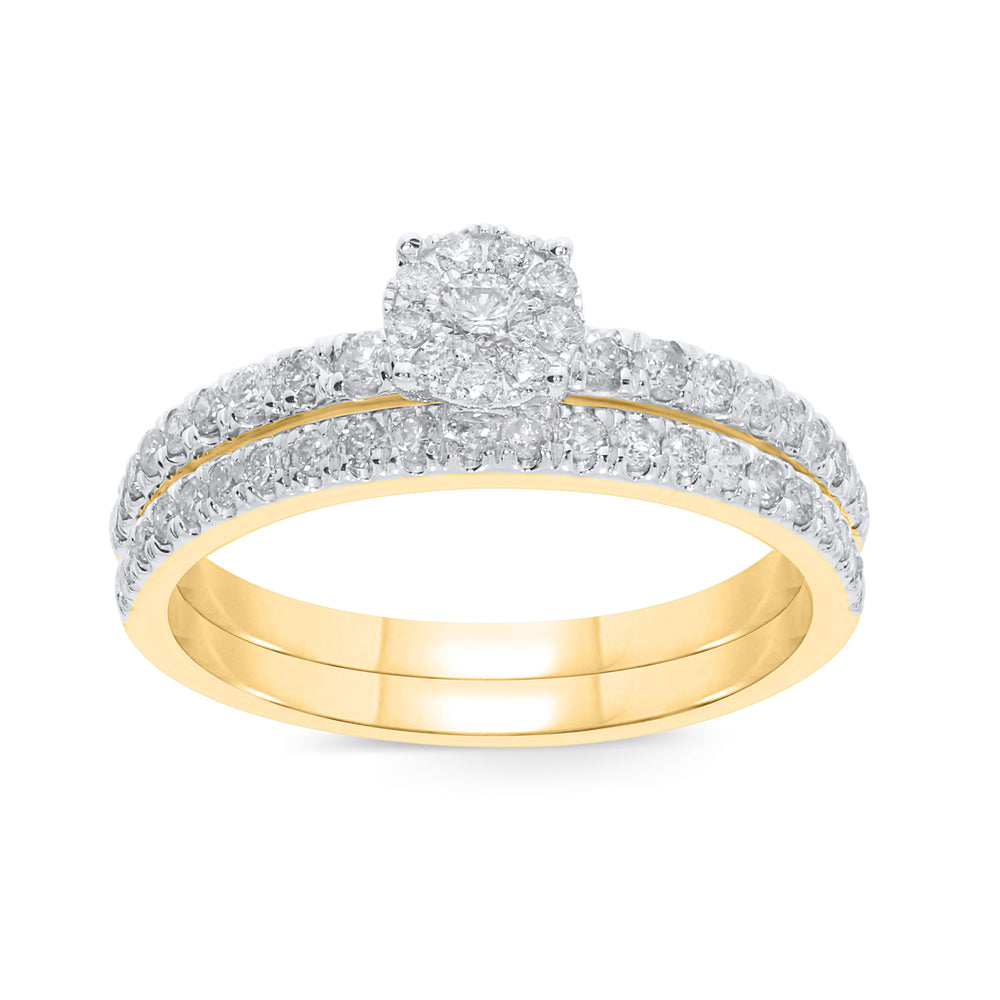 10K YELLOW GOLD .65 CARAT WOMENS DIAMOND ENGAGEMENT RING WEDDING BAND BRIDAL SET