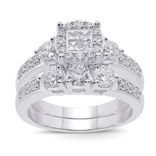 Load image into Gallery viewer, 10K WHITE GOLD 1.50 CT WOMEN REAL DIAMOND ENGAGEMENT RING WEDDING BAND RING SET
