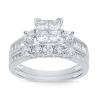 10K WHITE GOLD 1.58 CT WOMEN REAL DIAMOND ENGAGEMENT RING WEDDING BAND RING SET