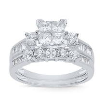 Load image into Gallery viewer, 10K WHITE GOLD 1.58 CT WOMEN REAL DIAMOND ENGAGEMENT RING WEDDING BAND RING SET