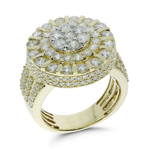 10K YELLOW GOLD 4 CARAT MENS REAL DIAMOND ENGAGEMENT WEDDING PINKY RING BAND