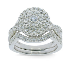 Load image into Gallery viewer, 10K WHITE GOLD .98 CARAT WOMENS REAL DIAMOND ENGAGEMENT RING WEDDING BAND SET
