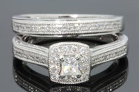10K WHITE GOLD .50 CARAT PRINCESS CUT DIAMOND ENGAGEMENT RING WEDDING BAND SET