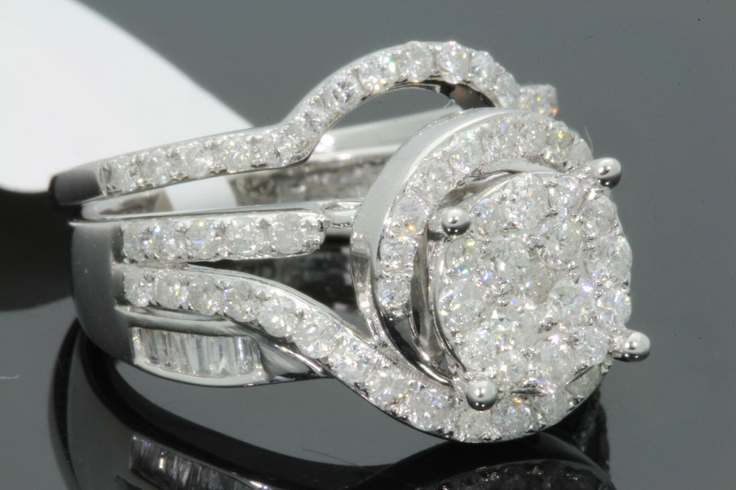 10K WHITE GOLD 1.65 CARAT WOMENS REAL DIAMOND ENGAGEMENT RING WEDDING BAND SET