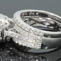 10K WHITE GOLD 1.25 CT WOMEN DIAMOND ENGAGEMENT WEDDING RING BAND SET