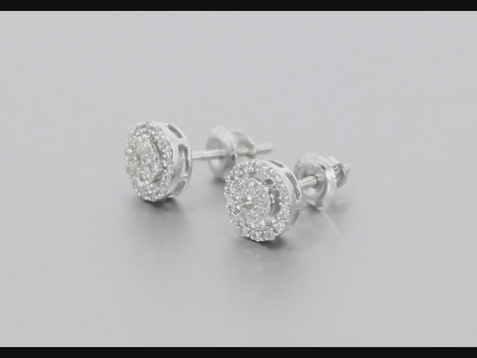10K WHITE GOLD .20 CARAT 100% GENUINE DIAMONDS MENS/WOMENS EARRING STUDS