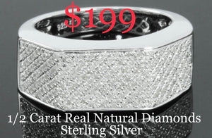 .52 CARAT MENS STERLING SILVER RHODIUM GENUINE DIAMOND ENGAGEMENT WEDDING PINKY RING