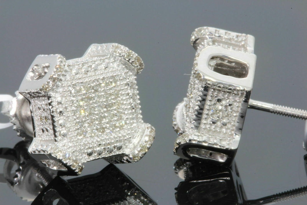 .24 CARAT STERLING SILVER RHODIUM MENS WOMENS 10 mm 100% REAL DIAMONDS EARRINGS STUDS